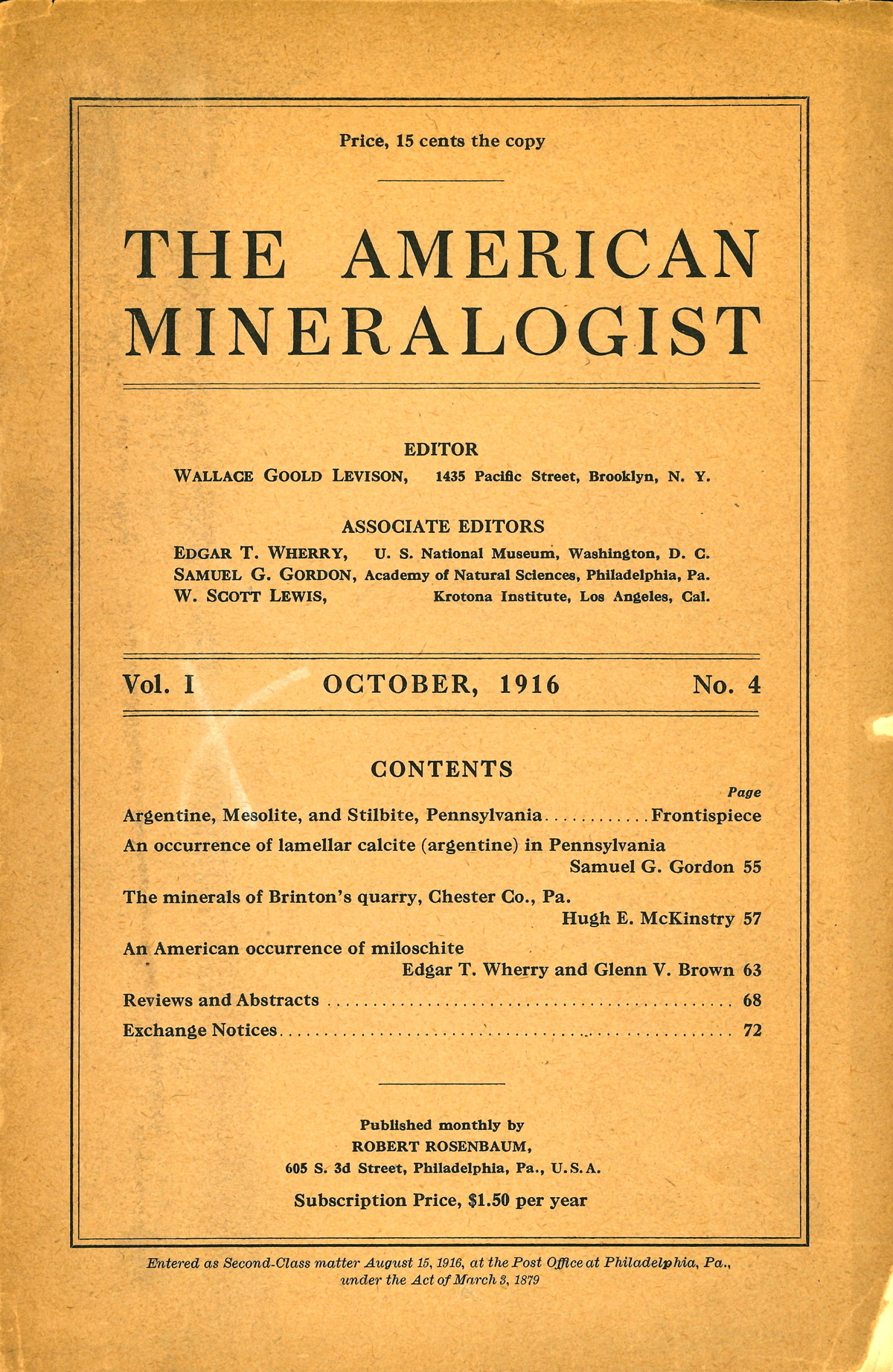 Cover of the 1920 American Mineralogist