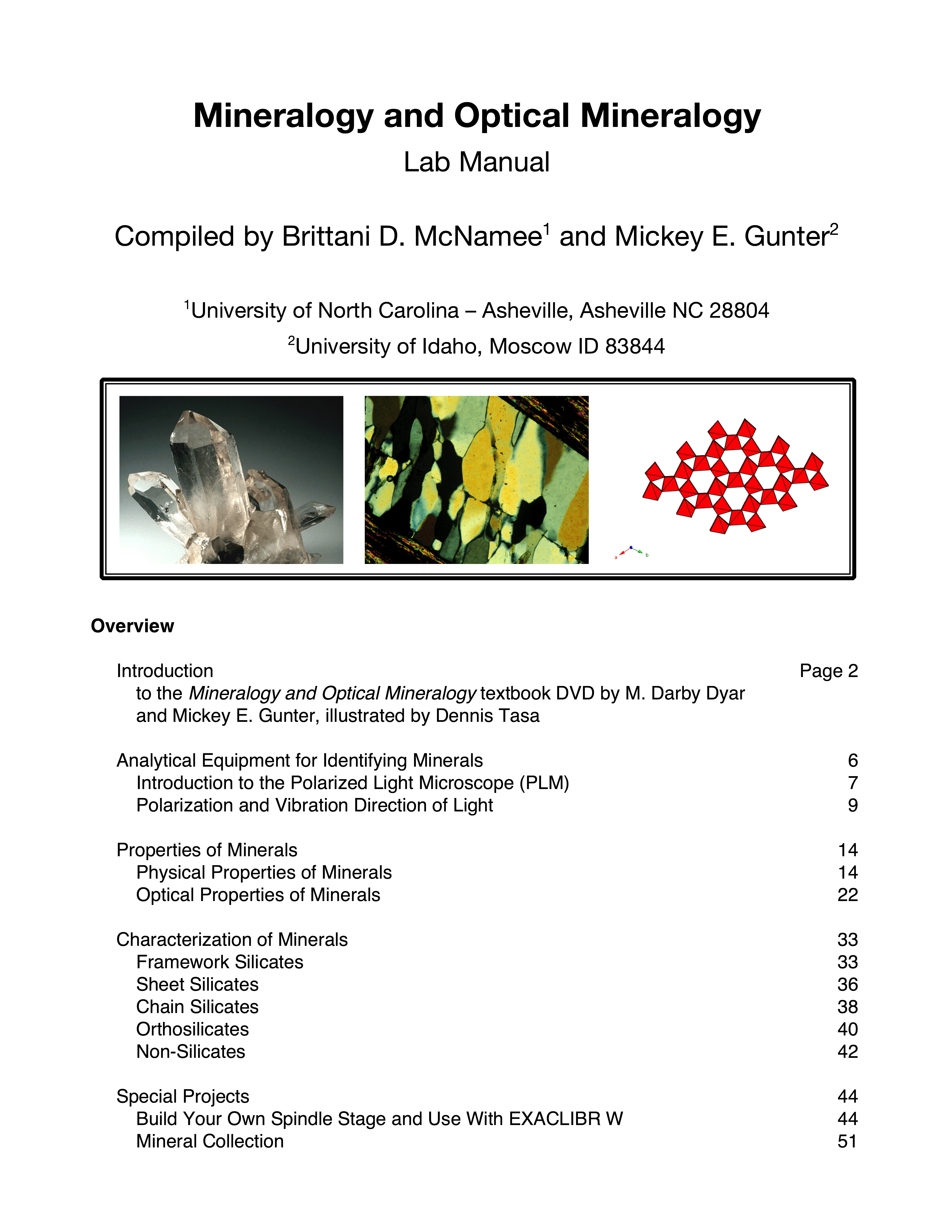 Cover of Guide to Mineralogy and Optical Mineralogy Laboratory Manual