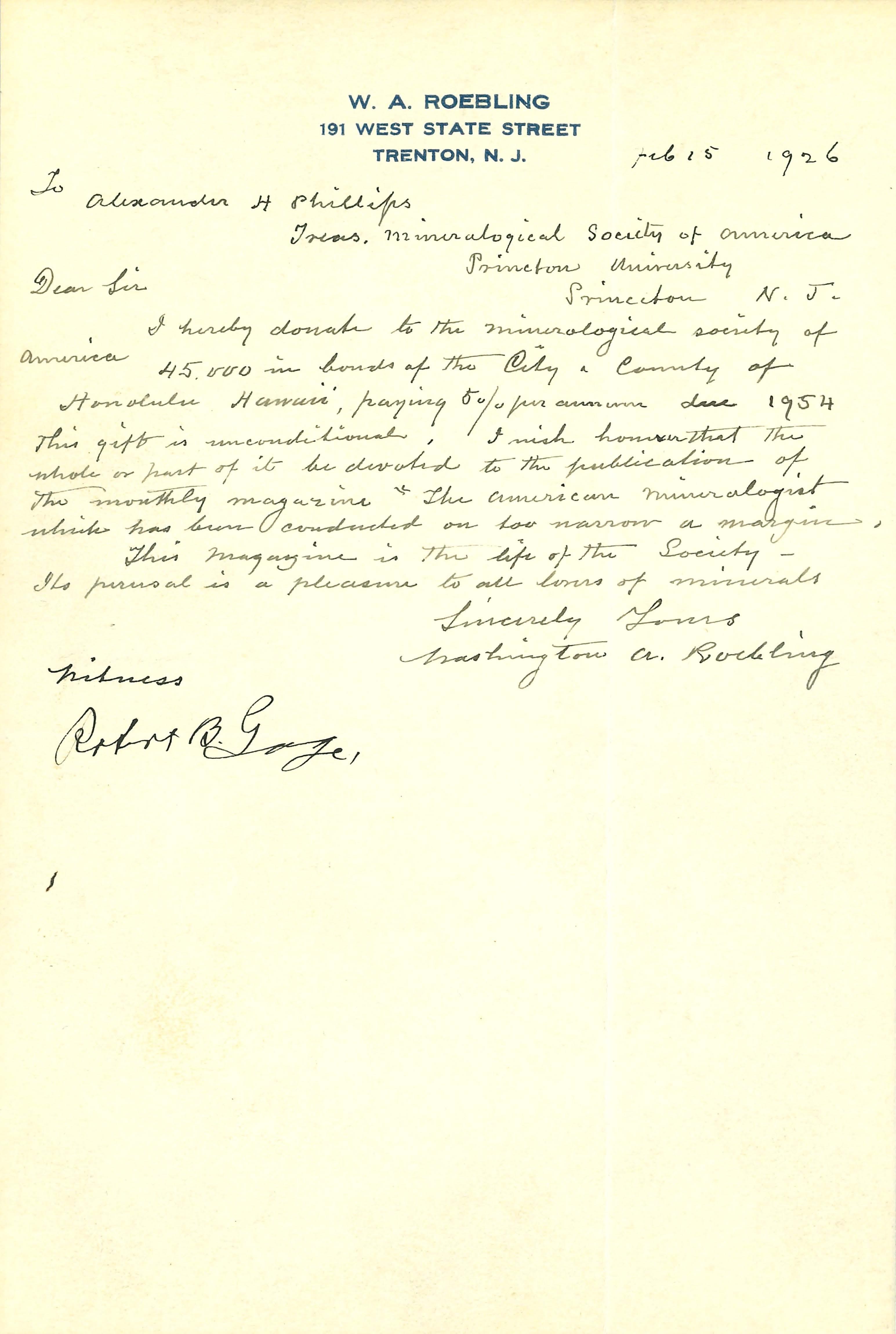 Roebling Donation letter