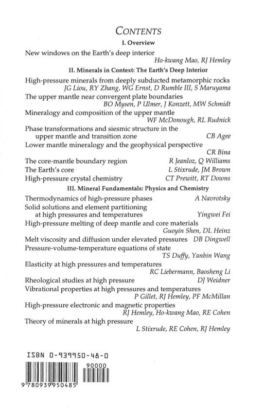 Mineralogical Society Of America Ultrahigh Pressure